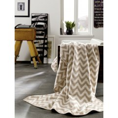 Messina beige and ivory geometric wave design blanket 150cm x 200cm