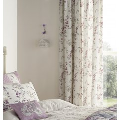 Lila lilac heather vinatge floral pencil pleat curtains
