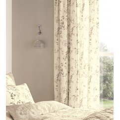 Lila natural vintage floral pencil pleat curtains