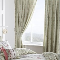 Pretty as a picture green vinatge floral pencil pleat curtains