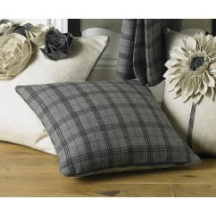 Lomond grey glencheck wool mix feather filled cushion