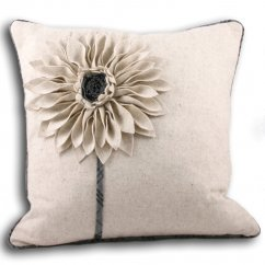 Clyde natural 3d floral cushion cover 45cm
