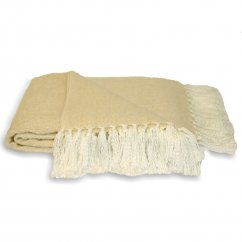 Chiltern cream fringed knitted throw 127cm x 180cm