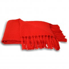 Chiltern cherry fringed knitted throw 127cm x 180cm