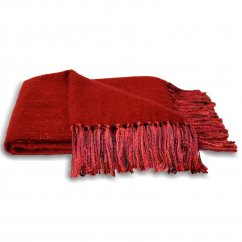 Chiltern red fringed knitted throw 127cm x 180cm