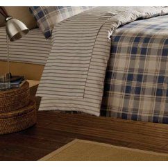 Tartan navy striped brushed cotton fitted sheet
