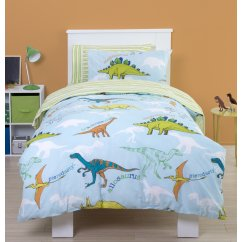 Dinoland multi reversible stripe duvet set