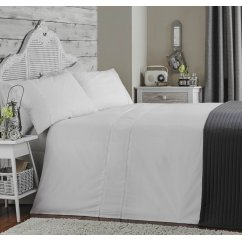 Ladder stitch white pure cotton 200 thread count duvet set