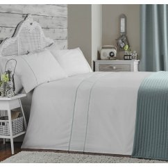 Ladderstitch duckegg pure cotton 200 thread count duvet set