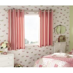 Beechwood chintz striped eyelet lined curtains