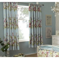 Meadow seafoam eau de nil floral pencil pleat readymade curtains