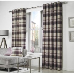 Belvedere check eyelet readymade curtains plum