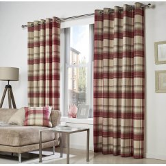 Belvedere check eyelet readymade curtains red