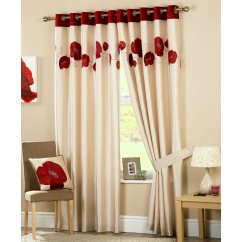 Daniella red floral eyelet readymade curtains