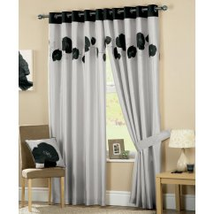 Daniella black floral eyelet readymade curtains