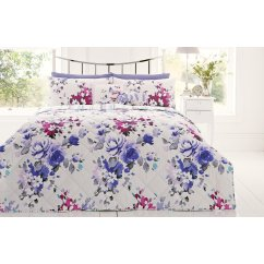 Puccini floral quilted reversible bedspread - purple/blue