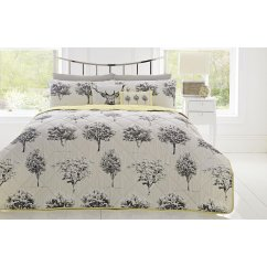 Rothay woodland quilted reversible bedspread - grey/lime