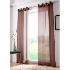 Plain ringtop readymade voile panel chocolate