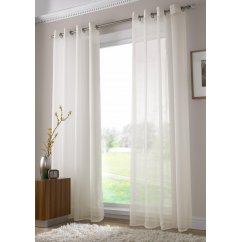 Plain ringtop readymade voile panel - ivory