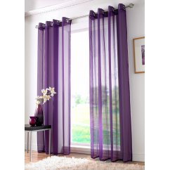 Plain ringtop readymade voile panel - purple