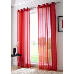 Plain ringtop readymade voile panel - red