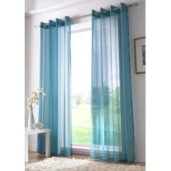 Plain ringtop readymade voile panel - teal