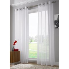 Plain ringtop readymade voile panel - white