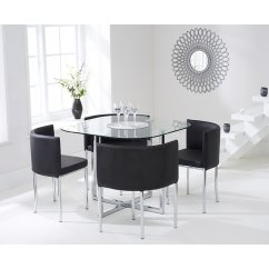 Abingdon black stowaway glass dining set