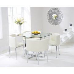 Abingdon cream stowaway glass dining set