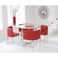 Abingdon red stowaway glass dining set
