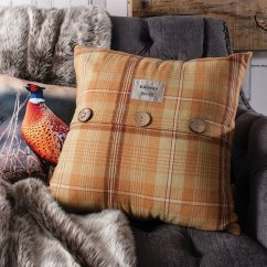 Harrison burnt orange feather filled cushion, 45cm