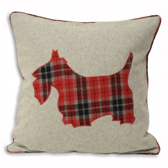 Scottie dog red tartan check wool mix cushion cover