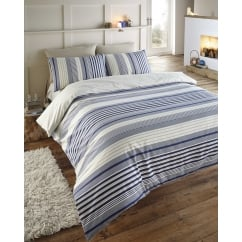 Plymouth navy coastal stripe brushed cotton duvet set