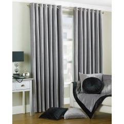 Wellesley silver chenille eyelet curtains