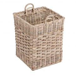 Set of 2 wicker baskets with handle