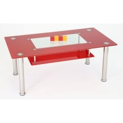 Christie red glass coffee table
