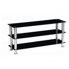 Crystal black glass tv stand