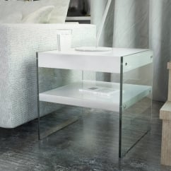 waverley white gloss side table