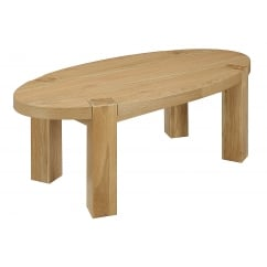 zeus solid oak oval coffee table