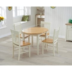Alaska oak and cream extending dining set