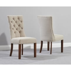 Albury beige fabric dark oak dining chair (pair)