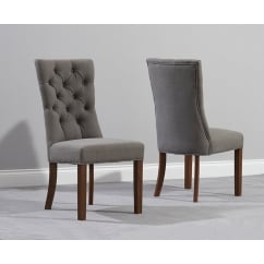 Albury grey fabric dark oak dining chair (pair)
