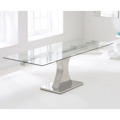 Amber clear 160cm extending glass table