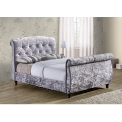 Toulouse grey crushed velvet fabric sleigh bed