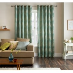 Diego teal leaf eyelet curtains