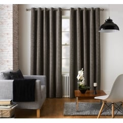 Ennerdale charcoal geometric eyelet readymade curtains