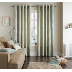 Fern eau de nil leaf pattern readymade eyelet curtains