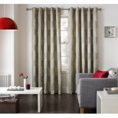 Fern mink leaf pattern readymade eyelet curtains