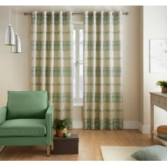 Painted stripe eau de nil readymade eyelet curtains