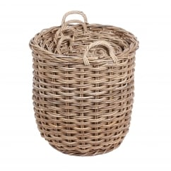 Set of 4 round wicker baskets with handle in kooboo grey
